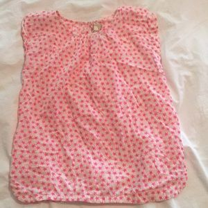 cap-sleeve top-off white with bright pink stars